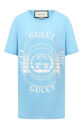Женская хлопковая футболка GUCCI голубого цвета, арт. 615044/XJCQ8   Фото 1
