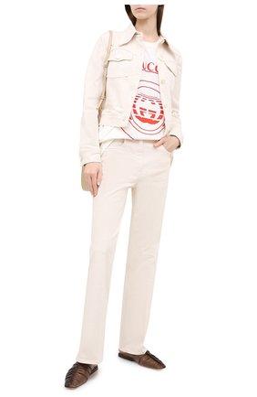 Женская хлопковая футболка GUCCI белого цвета, арт. 615044/XJCQ8 | Фото 2