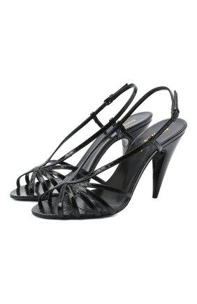Женские кожаные босоножки romy SAINT LAURENT черного цвета, арт. 630833/EX700 | Фото 1