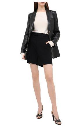 Женские кожаные босоножки romy SAINT LAURENT черного цвета, арт. 630833/EX700 | Фото 2