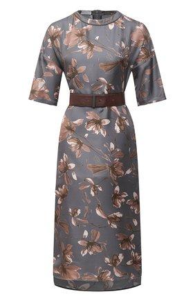 Женское шелковое платье BRUNELLO CUCINELLI серого цвета, арт. MD907A4699 | Фото 1