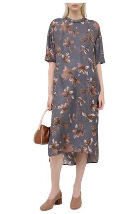 Женское шелковое платье BRUNELLO CUCINELLI серого цвета, арт. MD907A4699 | Фото 2