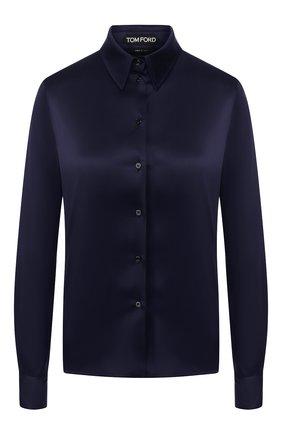 Женская шелковая рубашка TOM FORD темно-синего цвета, арт. CA3100-FAX334 | Фото 1 (Материал внешний: Шелк; Длина (для топов): Стандартные; Рукава: Длинные; Принт: Без принта; Женское Кросс-КТ: Рубашка-одежда)