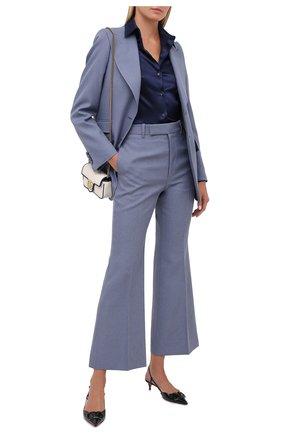 Женская шелковая рубашка TOM FORD темно-синего цвета, арт. CA3100-FAX334 | Фото 2 (Материал внешний: Шелк; Длина (для топов): Стандартные; Рукава: Длинные; Принт: Без принта; Женское Кросс-КТ: Рубашка-одежда)