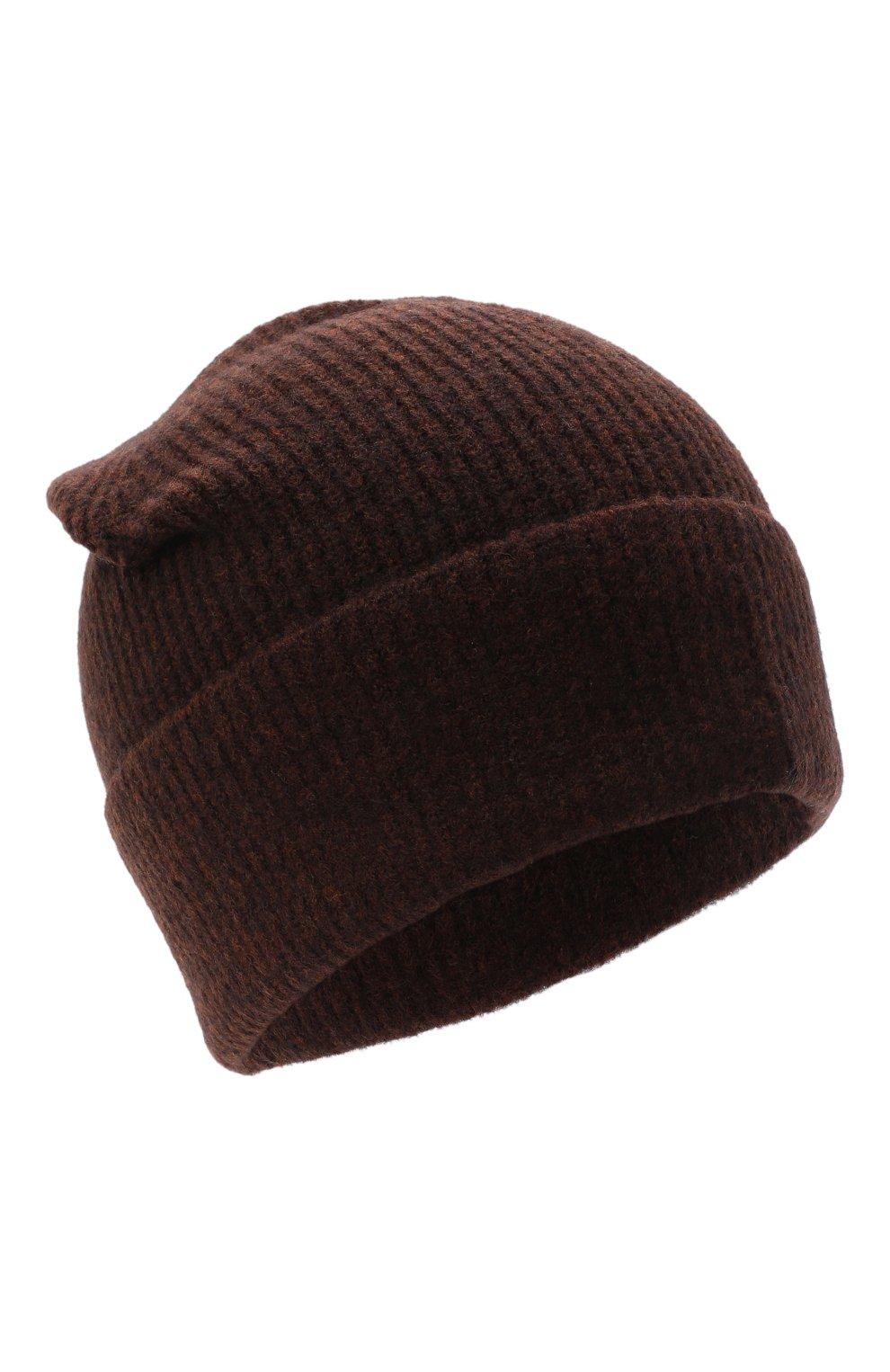Женская шапка ALLUDE темно-коричневого цвета, арт. 205/65030   Фото 1 (Материал: Текстиль, Шерсть)