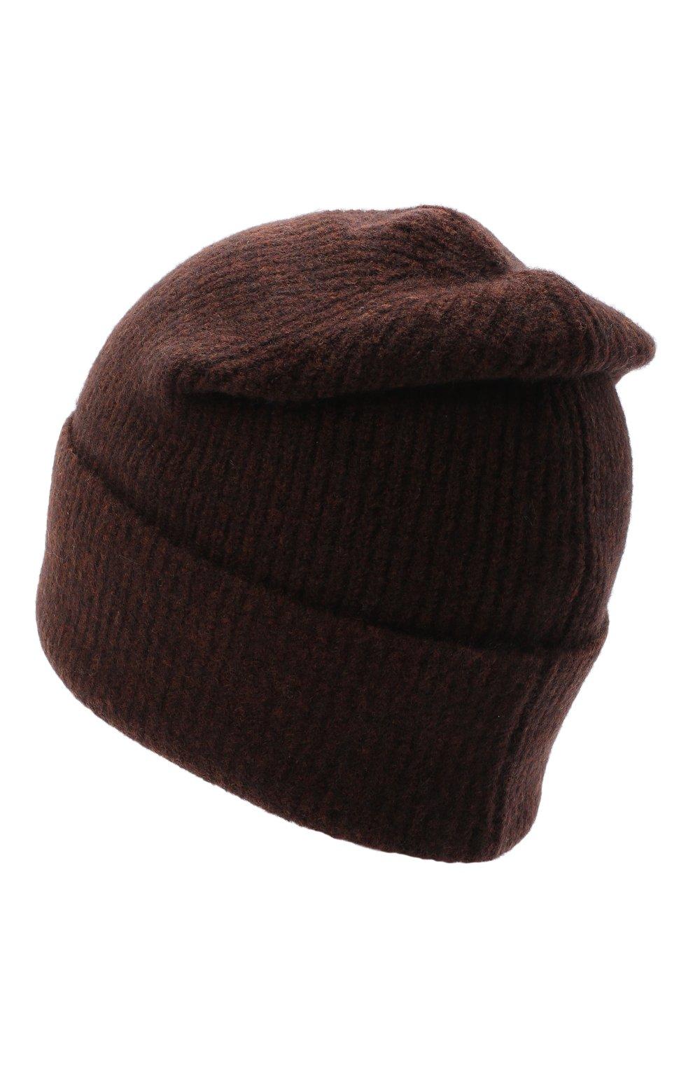 Женская шапка ALLUDE темно-коричневого цвета, арт. 205/65030   Фото 2 (Материал: Текстиль, Шерсть)