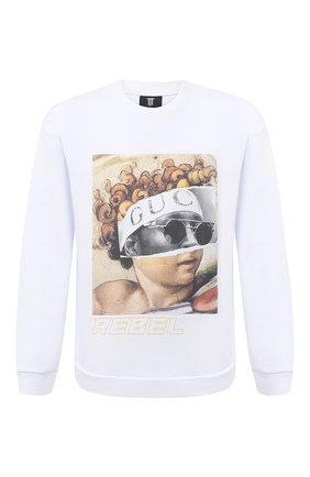 Мужской хлопковый свитшот DIEGO VENTURINO белого цвета, арт. FW20-DV FLG IRP | Фото 1