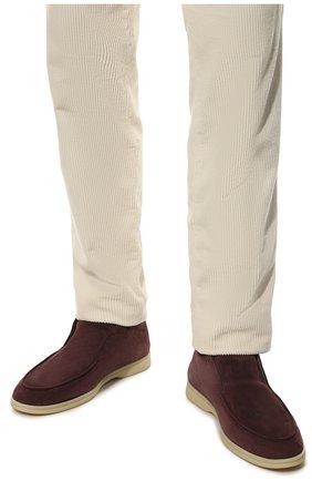 Мужские замшевые ботинки open walk LORO PIANA фиолетового цвета, арт. FAB4368   Фото 3 (Мужское Кросс-КТ: Ботинки-обувь; Материал внутренний: Натуральная кожа; Подошва: Плоская; Материал внешний: Замша)