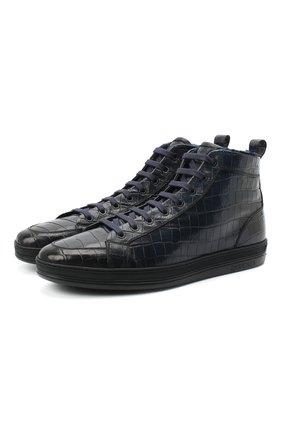 Мужские кожаные ботинки DOUCAL'S темно-синего цвета, арт. DU2709GENTUM023NB02 | Фото 1