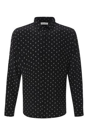 Мужская шелковая рубашка SAINT LAURENT черного цвета, арт. 564172/Y5B06 | Фото 1
