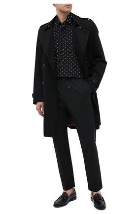 Мужская шелковая рубашка SAINT LAURENT черного цвета, арт. 564172/Y5B06 | Фото 2