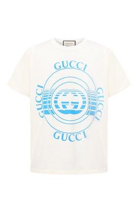 Мужская хлопковая футболка GUCCI белого цвета, арт. 616036/XJCSQ | Фото 1