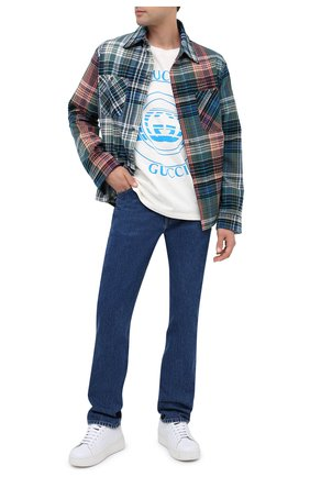 Мужская хлопковая футболка GUCCI белого цвета, арт. 616036/XJCSQ | Фото 2