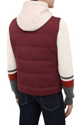 Мужской пуховый жилет BRUNELLO CUCINELLI бордового цвета, арт. MM4593870G | Фото 4 (Кросс-КТ: Куртка, Пуховик; Материал внешний: Синтетический материал; Стили: Гранж; Материал подклада: Синтетический материал; Мужское Кросс-КТ: Верхняя одежда; Длина (верхняя одежда): Короткие; Материал утеплителя: Пух и перо)