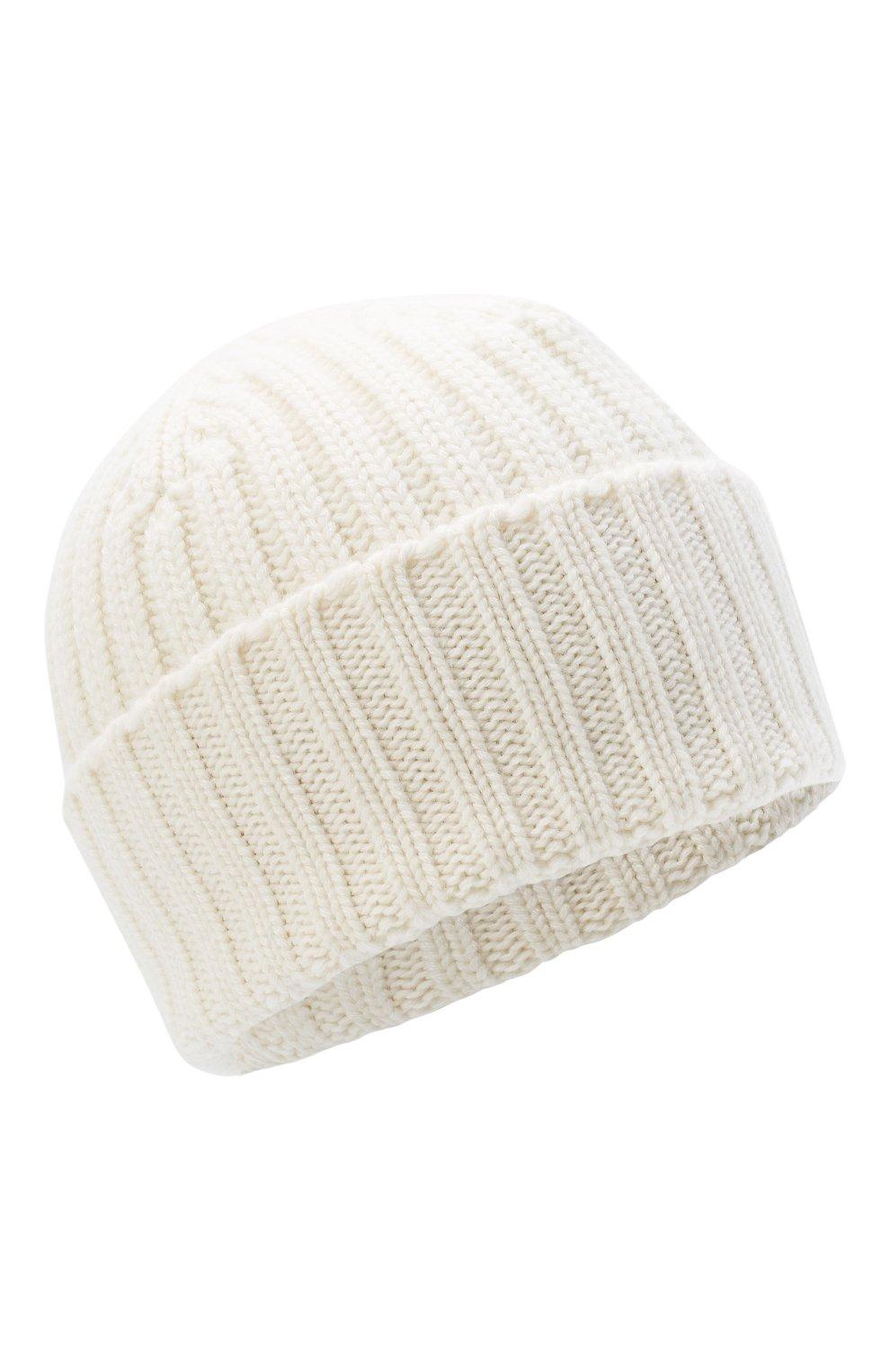 Мужская кашемировая шапка ALLUDE белого цвета, арт. 205/60050 | Фото 1 (Материал: Кашемир, Шерсть; Кросс-КТ: Трикотаж)