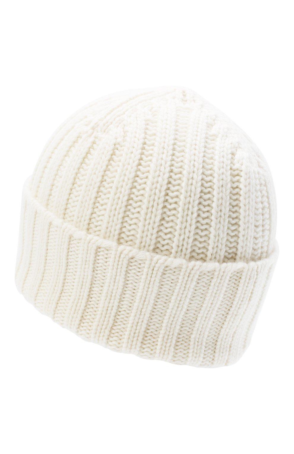 Мужская кашемировая шапка ALLUDE белого цвета, арт. 205/60050 | Фото 2 (Материал: Кашемир, Шерсть; Кросс-КТ: Трикотаж)