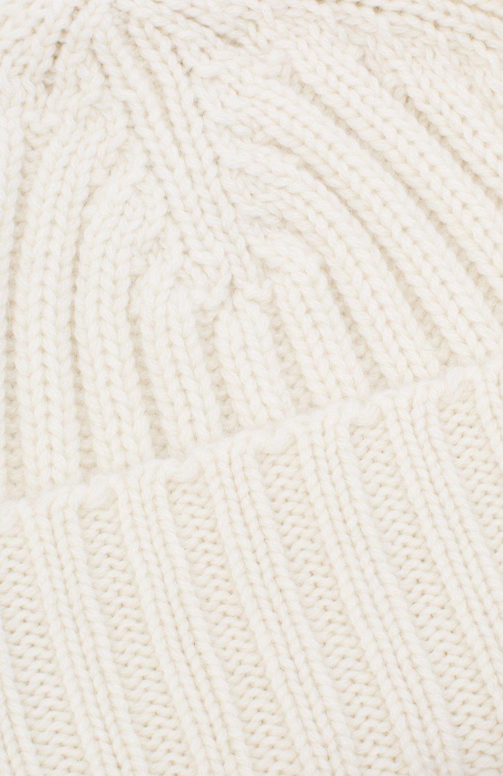 Мужская кашемировая шапка ALLUDE белого цвета, арт. 205/60050 | Фото 3 (Материал: Кашемир, Шерсть; Кросс-КТ: Трикотаж)