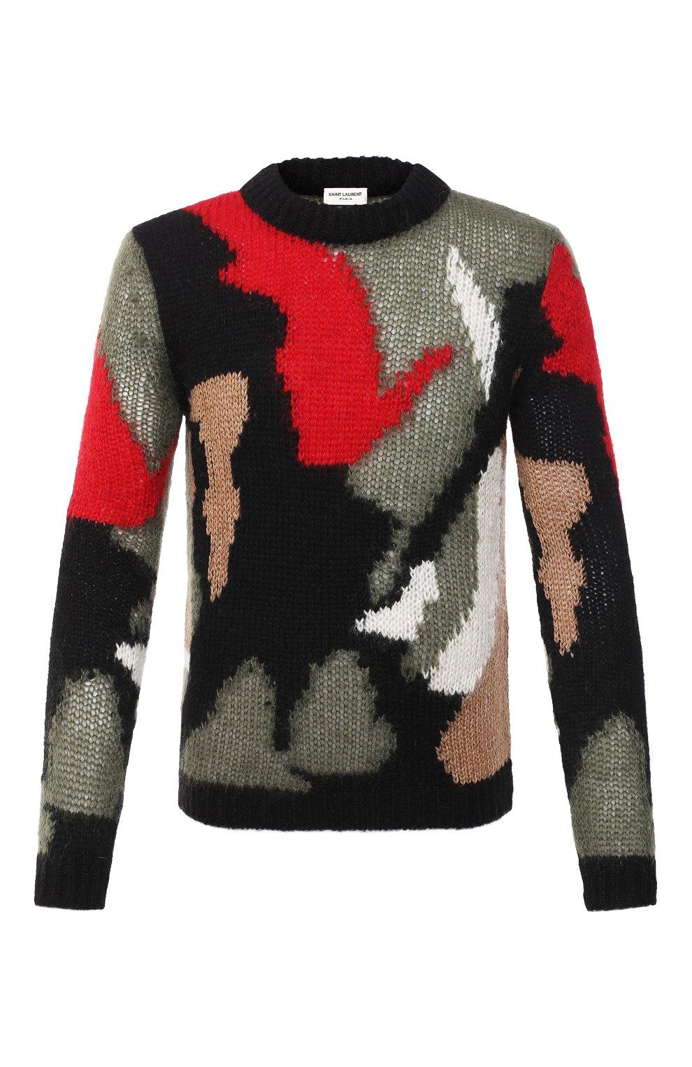 Мужской шерстяной свитер SAINT LAURENT разноцветного цвета, арт. 627313/YAQR2 | Фото 1