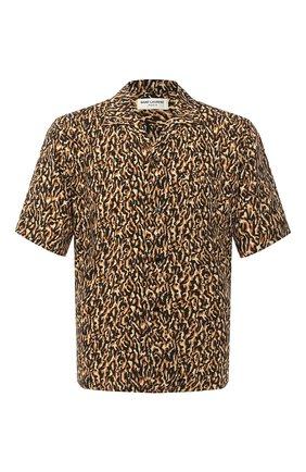 Мужская рубашка из вискозы SAINT LAURENT коричневого цвета, арт. 531956/Y2B13 | Фото 1