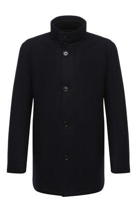 Мужской пальто из шерсти и кашемира BOSS темно-синего цвета, арт. 50436542 | Фото 1