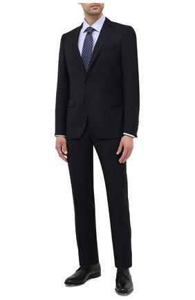 Мужской шерстяной костюм BOSS темно-синего цвета, арт. 50439816 | Фото 1