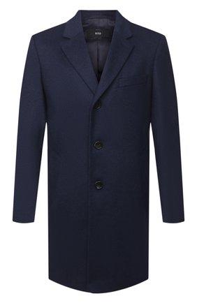 Мужской пальто из шерсти и кашемира BOSS синего цвета, арт. 50438689   Фото 1