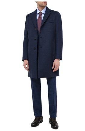 Мужской пальто из шерсти и кашемира BOSS синего цвета, арт. 50438689   Фото 2