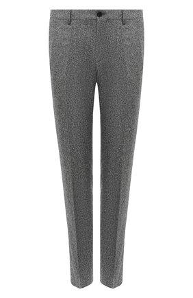 Мужской брюки из шерсти и шелка BOSS серого цвета, арт. 50438406 | Фото 1