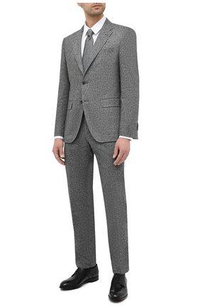 Мужской брюки из шерсти и шелка BOSS серого цвета, арт. 50438406 | Фото 2