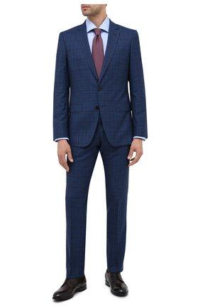 Мужской шерстяной костюм BOSS темно-синего цвета, арт. 50438532 | Фото 1