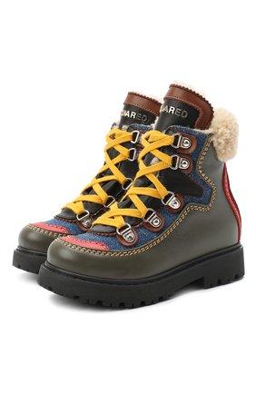 Детские кожаные ботинки DSQUARED2 хаки цвета, арт. 65191/S0FTY/18-27 | Фото 1
