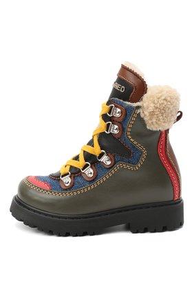 Детские кожаные ботинки DSQUARED2 хаки цвета, арт. 65191/S0FTY/18-27 | Фото 2