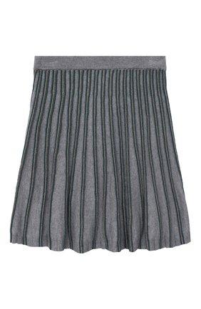 Детская хлопковая юбка ALETTA серого цвета, арт. AKF000780/9A-16A | Фото 2