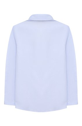 Детская хлопковая рубашка ALETTA голубого цвета, арт. AM000611ML/4A-8A | Фото 2 (Рукава: Длинные; Материал внешний: Хлопок; Случай: Повседневный; Ростовка одежда: 6 лет | 116 см, 7 лет | 122 см, 8 лет | 128 см)