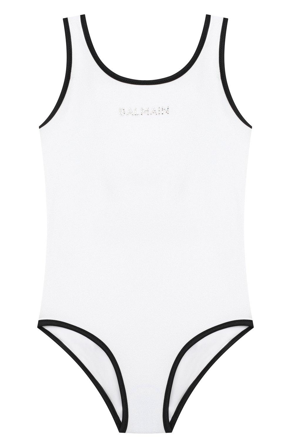 Детского слитный купальник BALMAIN белого цвета, арт. 6N0139/NX360/4-10 | Фото 1