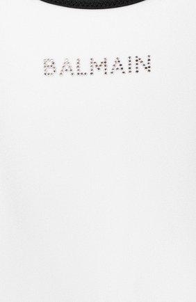 Детского слитный купальник BALMAIN белого цвета, арт. 6N0139/NX360/4-10 | Фото 3