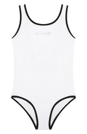 Детского слитный купальник BALMAIN белого цвета, арт. 6N0139/NX360/12-16 | Фото 1