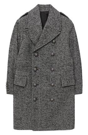 Детское двубортное пальто BALMAIN серого цвета, арт. 6N2620/NF220/4-10 | Фото 1