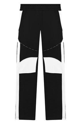 Детские хлопковые брюки BALMAIN черно-белого цвета, арт. 6N6597/NX320/4-10 | Фото 1