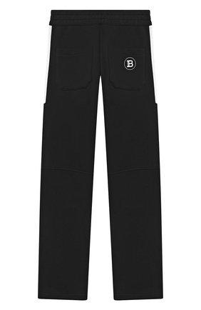 Детские хлопковые брюки BALMAIN черно-белого цвета, арт. 6N6597/NX320/4-10 | Фото 2