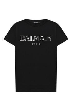 Детская хлопковая футболка BALMAIN черного цвета, арт. 6N8551/NX290/4-10 | Фото 1
