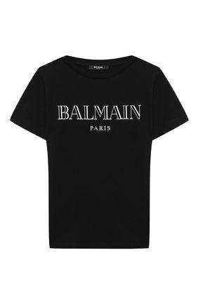 Детская хлопковая футболка BALMAIN черного цвета, арт. 6N8551/NX290/12-16 | Фото 1