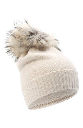 Детского шерстяная шапка с меховым помпоном IL TRENINO бежевого цвета, арт. 15 8637/LR | Фото 1