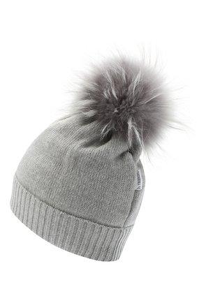 Детского шерстяная шапка с меховым помпоном IL TRENINO светло-серого цвета, арт. 15 8637/LR | Фото 2