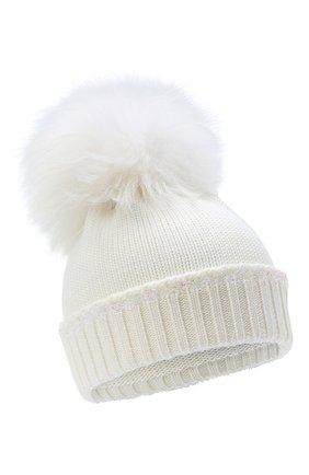 Детского шерстяная шапка с меховым помпоном IL TRENINO белого цвета, арт. 20 7989/E0 | Фото 1