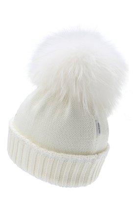 Детского шерстяная шапка с меховым помпоном IL TRENINO белого цвета, арт. 20 7989/E0 | Фото 2