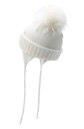 Детского шерстяная шапка с меховым помпоном IL TRENINO белого цвета, арт. 20 7989/E7 | Фото 2