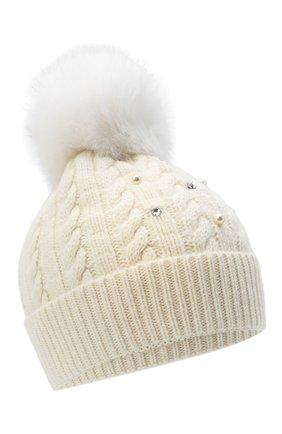 Детского шерстяная шапка с меховым помпоном IL TRENINO белого цвета, арт. 20 8176/E0 | Фото 1