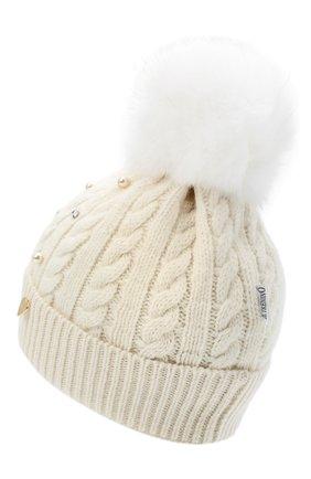 Детского шерстяная шапка с меховым помпоном IL TRENINO белого цвета, арт. 20 8176/E0 | Фото 2
