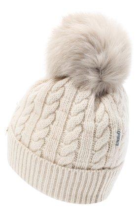Шерстяная шапка с меховым помпоном   Фото №2